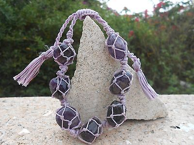 Healing Amethyst Tumbled Stones Drawstring Netted  Bracelet-Handmade-No Metal
