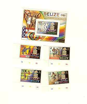 Belize 1984 La Olympics Scott #'s 717 To 721 Set W/souvenir Sheet Mnh Free Ship
