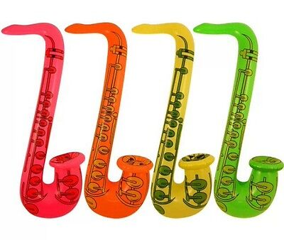 """4x INFLATABLE BLOW UP SAXOPHONE 75cm 30"""" HALLOWEEN PARTY FANCY DRESS BIRTHDAY"""