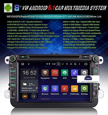 "Radio Dvd 8"" Golf, Volkswagen, Seat, Skoda - Android 5.1 - Bluetooth,gps"