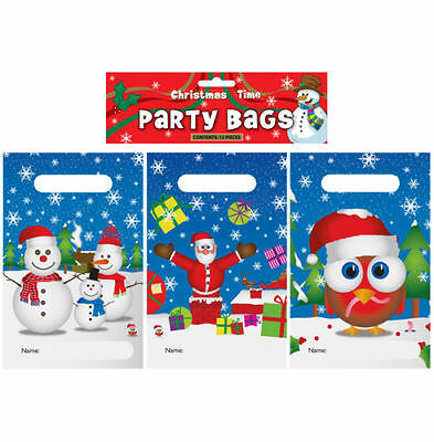 Christmas Xmas Pack Of 12 Assorted Party Bags Snowmen, Father Christmas & Robin