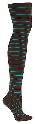 Sock It To Me Women's Over the Knee Socks - Brown & Teal Striped