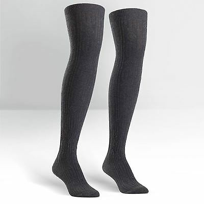 Sock It To Me Women's Over the Knee Socks - Charcoal Grey Cable