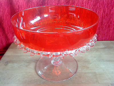 "Red art glass footed  bowl clear frilled surround clear base 8"" across x 6.5"