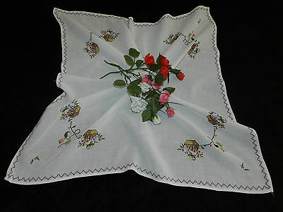 """Vintage hand embroidered table cover  28.3""""/28.3""""   n5530"""