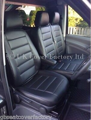 VW Crafter Van Seat Covers- Black Quilted- PVC Leather-Made to Measure