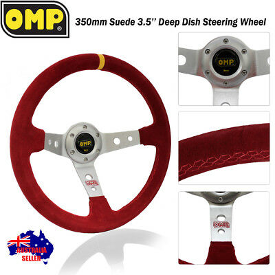 """Corsica Style RED SILVER 350mm Steering Wheel 3.5"""" Deep Dish Suede Drift Rally"""
