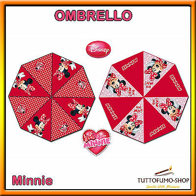 OMBRELLO AUTOMATICO Disney *MINNIE* dm. 48cm ROSSO Bambina Cartoon *ORIGINALE*