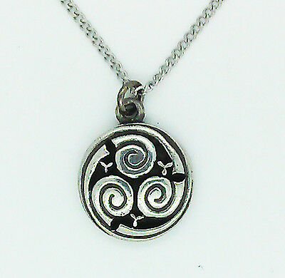Authentic Celtic Triple Spiral Pendant in Solid Pewter