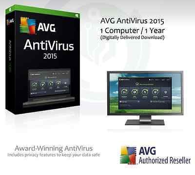 AVG AntiVirus 2015 - 1 Computer / 1 Year Protection | License Key Only