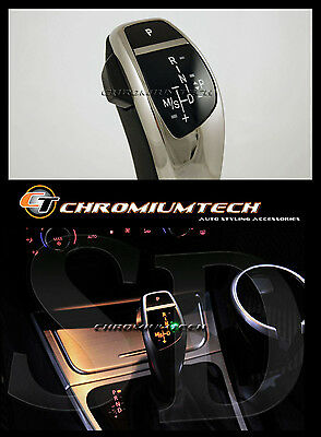 BMW E90 E92 3-Series CHROME LED Shift Gear Knob for LHD w/Gear Position Light