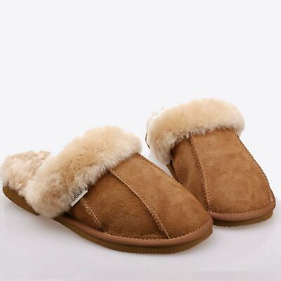 New Genuine Australian Mens/Womens/Ladies Sheepskin Scuff Slippers Warm Shoes