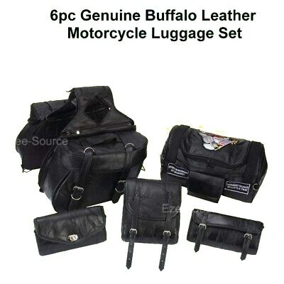 6Pc Genuine Leather Motorcycle Saddlebags Barrel Sissy Windshield For Harley
