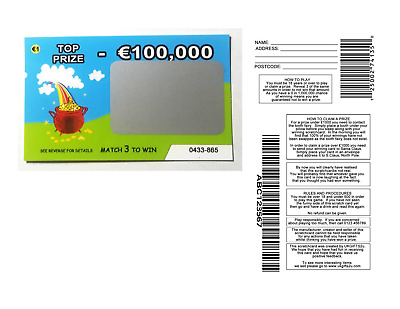 2 Fake lottery EURO (€) scratch cards scratchcards funny great party trick