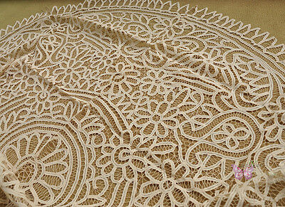 """Fabulous 72x108"""" Oval FULL Hand Batten Lace Beige Cotton Tablecloth Coverlet"""