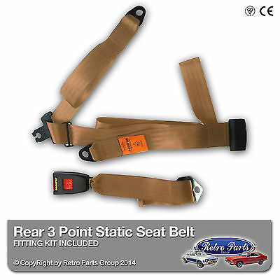 Chevrolet G20 Rear Static 3 Point Seat Belt Kit - Beige