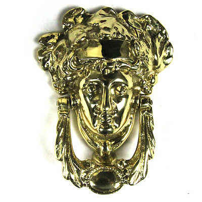 Traditional Antique Victorian Style Grecian Goddess Cast Brass Door Knocker