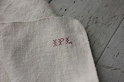 Antique French PURE linen IPL monohand kitchen towel 18th / 19th old bath