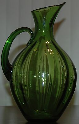 """Mid Century Blenko 991 Winslow Anderson Lime Green Ribbed Pitcher Vase 13"""" Tall"""