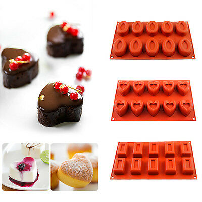 10-cavity Food-Grade Silicone Chocolate Cake Mold Cookies Ice Cube Candy Tray