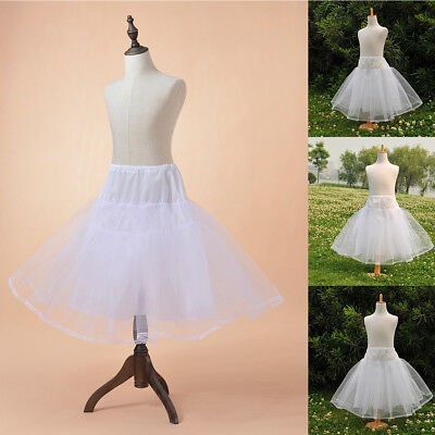 White Hoopless Children Petticoat Slips Bridal Flower Girls Underskirt Size S-L