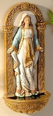 """NEW! 7"""" Our Lady of Grace WALL FONT Statue Figurine Virgin Mary Madonna GIFT"""