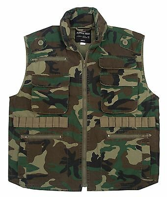 ROTHCO FISHING  WOODLAND CAMO Military 8 Pocket Tactical Ranger Vest W/Hood S-3X