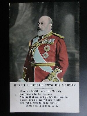 H.R.H. King Edward Vll HERS'S HEALTH UNTO HIS MAJESTY Old Postcard Millar & Lang