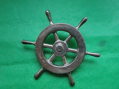 PAPER WEIGHT,  STERLING SILVER, SHIPS WHEEL, CIRC 1900, COOL MINIATURE