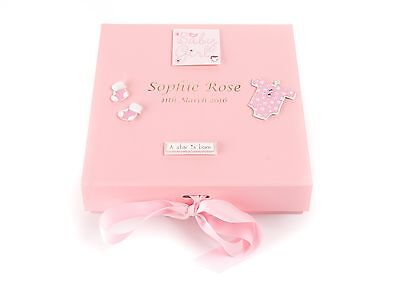 Personalised Baby Girl's Birth Keepsake Memory Trinket Box PINK
