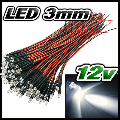 256# LED 3mm 12v pré-câblé blanche de 5 à 100pcs - pre wired LED white 3 mm