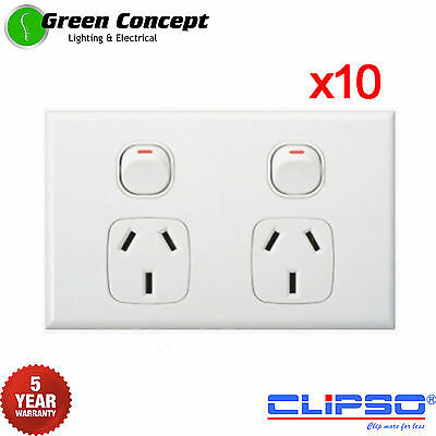 NEW 10 x Slim Line Double Power Point GPO Socket Outlet Powerpoint Clipso