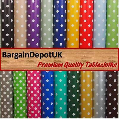 Polka Dots PVC Vinyl Tablecloth Oilcloth Wipe Clean 140cm wide - Premium Quality