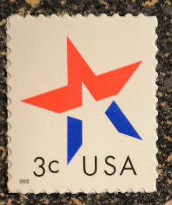 2002USA   #3613  3c  American Designs - Star Make Up Issue  -  Mint NH