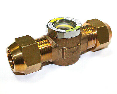 "Hvac Ac Sight Glass W/ Moisture Indicator All Brass Flare  5/8"" Pipe"