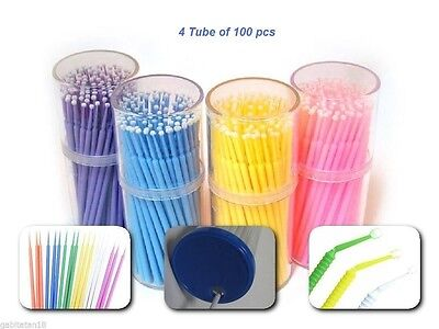 400pcs Dental Disposable Micro Applicator Brushes for ,bonding,etching,fluoride