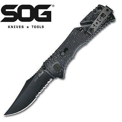 SOG TRIDENT BLACK TiNi AUS-8 ASSISTED FOLDING KNIFE TF-1 NEW