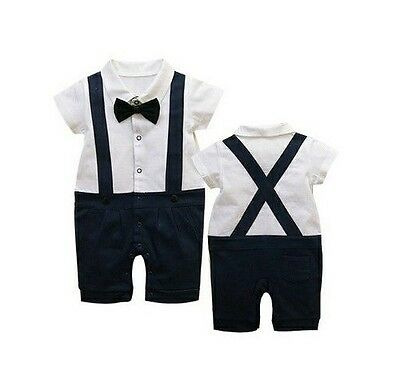 Baby Boy Formal Tuxedo SHORT Sleeve One-Piece Romper Suit size 00.2