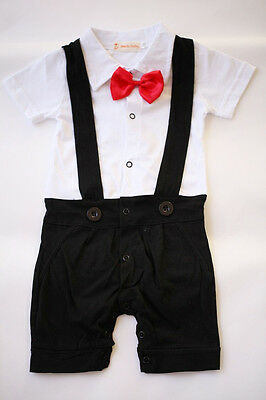 NEW Baby Boy Black Tuxedo Red Bow OnePiece Short Sleeve Romper 6-12m Suit 0
