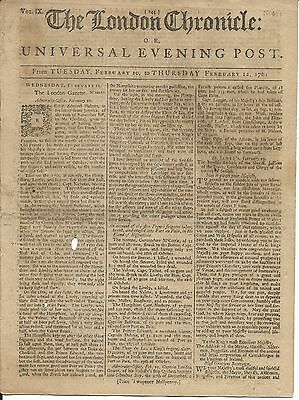 The London Chronicle or Universal Evening Post- Feb. 1761- 8 Pages^