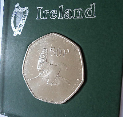 1996 Republic of Ireland Eire Irish 50p Fifty Pence Coin BU Gift in Display Case