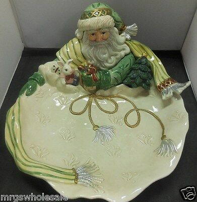 FITZ AND FLOYD CLASSICS GREGORIAN LARGE PORCELAIN SANTA PLATE  - USED