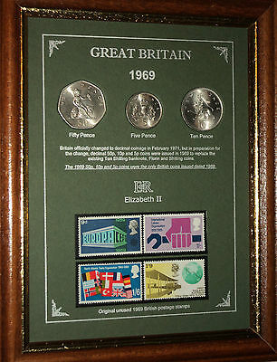 FRAMED 1969 COIN STAMP SET (RETRO 50th BIRTHDAY PRESENT WEDDING ANNIVERSARY GIFT