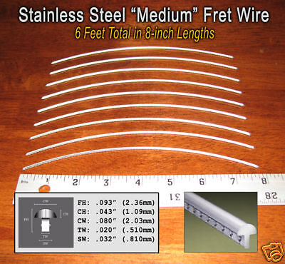 6ft Jescar STAINLESS STEEL Medium Frets/Fret Wire for Guitars &More! 10-08-03