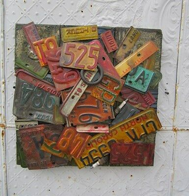 "18"" X 18"" Antique Ceiling Tin Wall Art by Lori Daniels -  From Old License Plate"