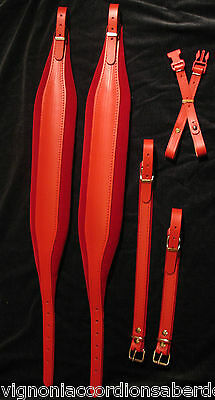 RED Velvet Deluxe Italian Accordion Straps 304a Leather Italcinte + BackStrap