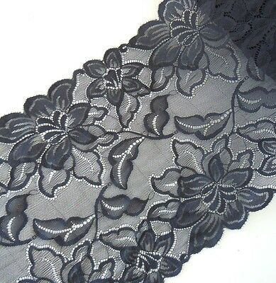 """3 - 4 Yards  8 1/2 """" Wide Lovely Stretch Floral Lace Black 034"""
