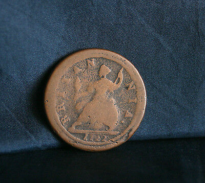 Great Britain 1/2 Penny 1722 Copper World Coin UK Seated Half Cent GB England