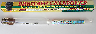 x 2 ALCOHOLMETER VINOMETER HYDROMETER 0 - 12% ALCOHOL TEST FOR WINE TESTER