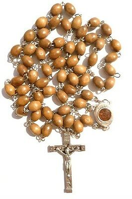 Fine real olive wood rosary from Jerusalem, including holy earth from Jerusalem